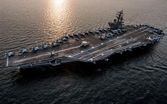Обои ВМС, корабль, авианосца, море