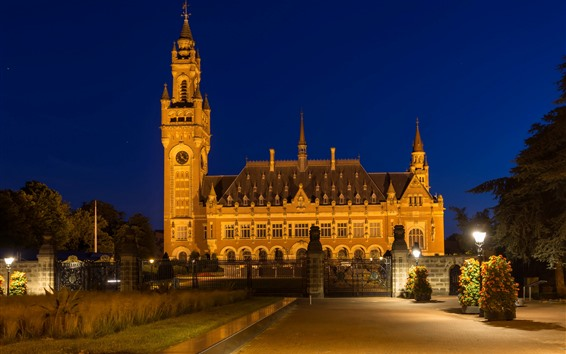 Wallpaper Netherlands, Peace Palace, night, lights