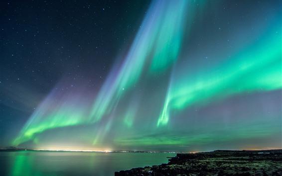 배경 화면 북극광, 아름다운 밤, 하늘, 별, 바다, 아이슬란드