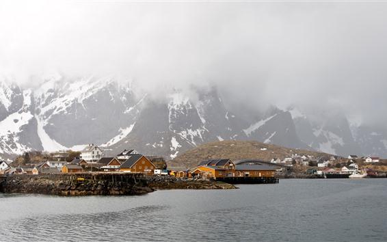 Papéis de Parede Noruega, Lofoten, Inverno, Mar, Neve, Montanhas, Casas