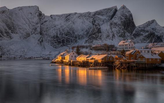 Wallpaper Norway, The Lofoten Islands, houses, snow, sea, mountain, dusk, winter
