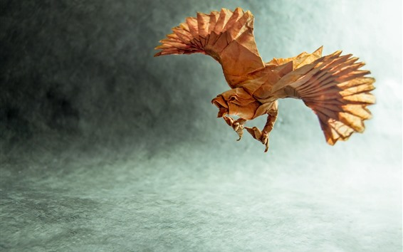 Wallpaper Paper eagle, origami, wings, creative picture