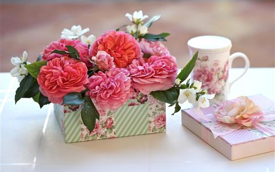 壁紙 ピンクのバラ、ギフト、カップ