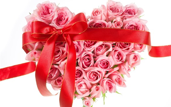 Wallpaper Pink roses, love heart, ribbon, white background