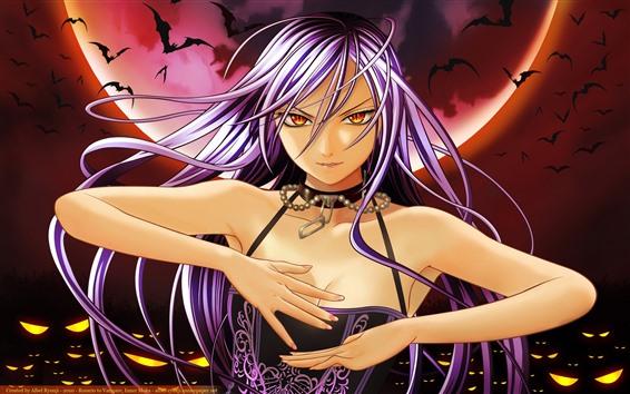 Wallpaper Purple hair anime girl, bat, moon