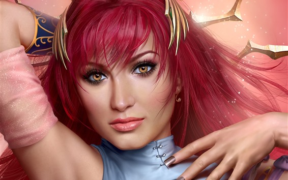 Fond d'écran Cheveux rouges Fantasy Girl, yeux bruns, brillance