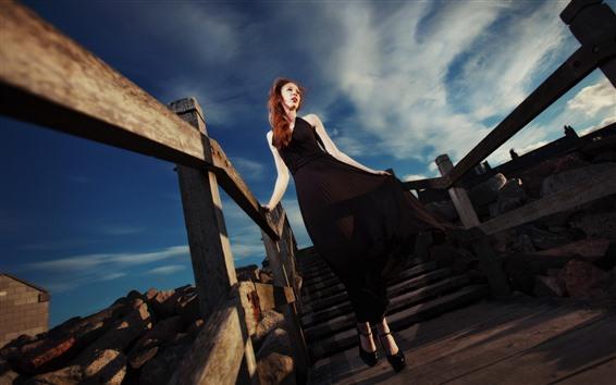 Wallpaper Red hair girl, black skirt, stairs