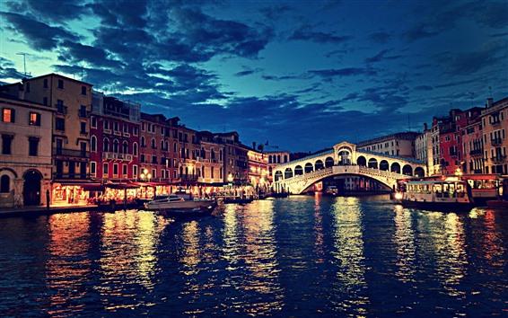 Обои Мост Риальто, Венеция, Италия, Ночь, река, мост, огни