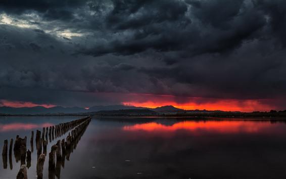 배경 화면 강, 그루터기, 폭풍, 검은 구름, 밤