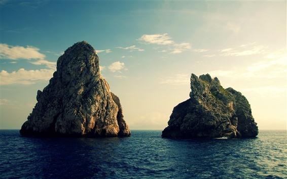 Fond d'écran Roches, mer, ciel, crépuscule, nature