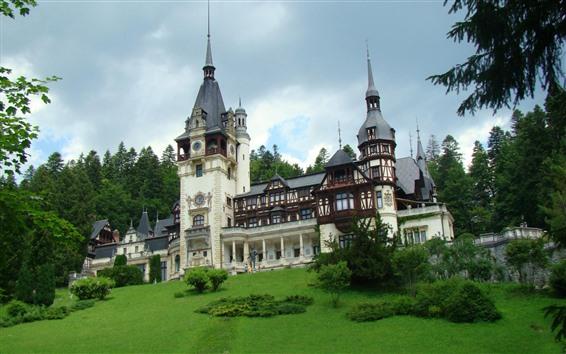 壁紙 ルーマニア、ペレス城、緑、木々