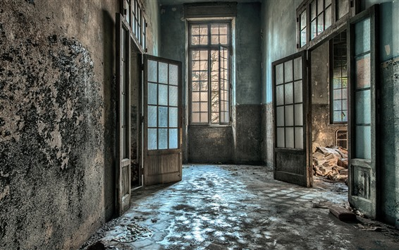 Papéis de Parede Sala, parede, porta, janela, interior, ruínas