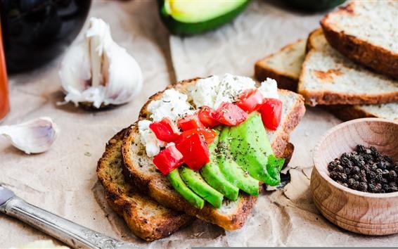 Fond d'écran Sandwich, fromage, poivre, tomate, avocat, nourriture, pain