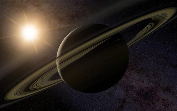 Wallpaper Saturn, ring, stars, sun, space