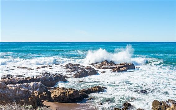 Обои Море, побережье, всплеск воды, пена, камни