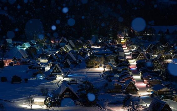 Papéis de Parede Shirakawa-Go, Japão, Inverno, Neve, Noite, Casas, Luzes
