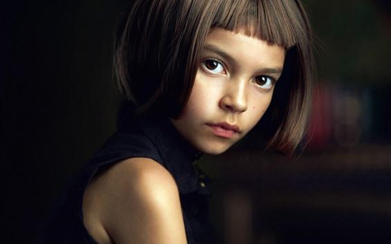 Обои Короткие волосы девушка, карие глаза, вид, ребенок