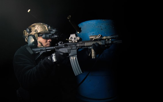 Wallpaper Soldier, weapon, shooting, night