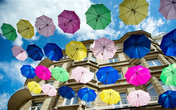 Papéis de Parede Alguns guarda-chuvas coloridos, casa, cidade