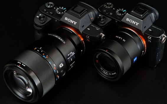 Wallpaper Sony cameras, lens, A7II and A7R