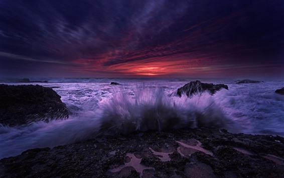 Papéis de Parede Espanha, Andaluzia, ondas do mar, respingo de água, pedras, pôr do sol