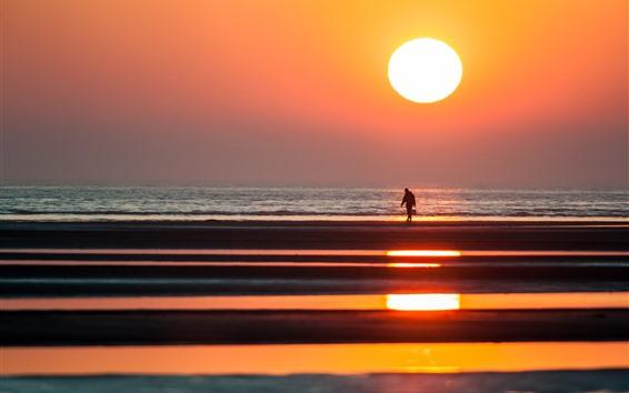 壁紙 夕日、漁師、夕暮れ、海辺、海、シルエット