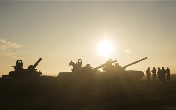Обои Танк, армия, солдаты, солнечный свет, силуэт