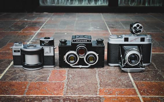 壁紙 3つの古典的なカメラ