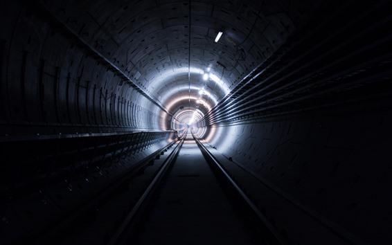 Wallpaper Tunnel, lights, track