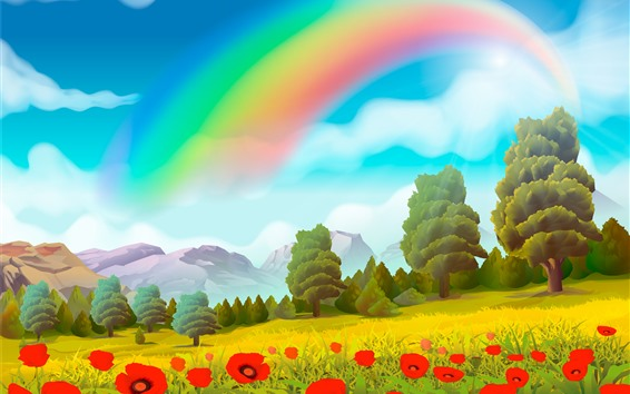 Wallpaper Vector design, rainbow, trees, poppy flowers