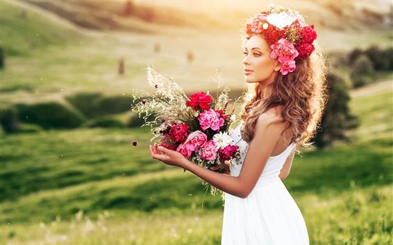 桌布 白色裙子女孩,花,花束,草,夏天