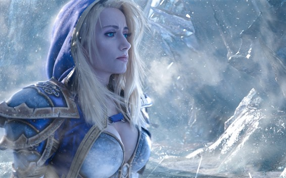 Fond d'écran World of Warcraft, yeux bleu yeux, blonde, neige