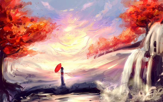 Wallpaper Anime girl, umbrella, waterfall, red leaves, autumn