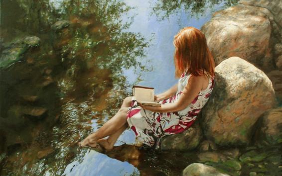 Wallpaper Art painting, girl, book, stones, creek, water