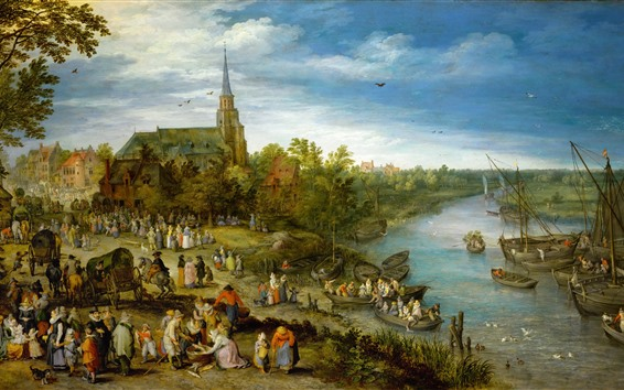Wallpaper Art painting, village, river, people, trees, boats