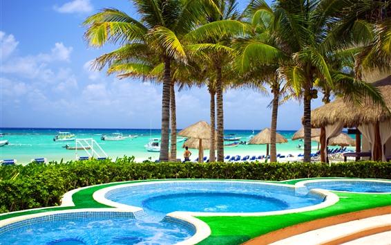 Обои Пляж, море, тропические, пальмы, бассейн, лодки