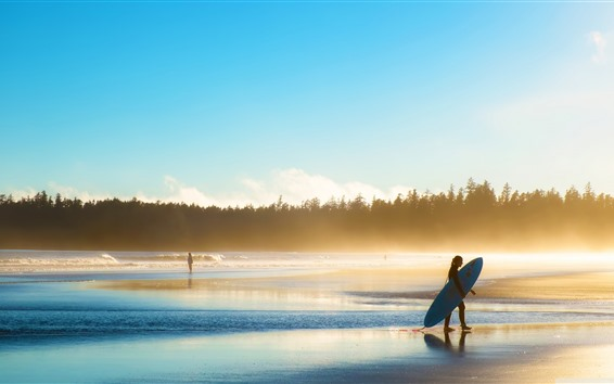 Fond d'écran Plage, mer, vagues, mousse, arbres, fille, surf