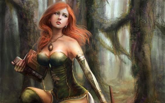 Fond d'écran Belle fille fantastique, cheveux roux, forêt, livre