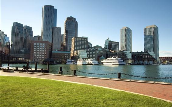 Fond d'écran Boston, Massachusetts, ville, rivière, gratte-ciel, États-Unis