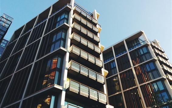 Fondos de pantalla Edificios, Fachada, Rascacielos, Balcón, Ciudad