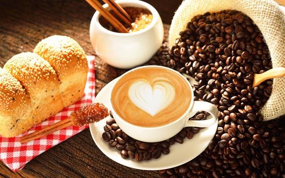 Обои Кофе, любовь сердце, кофейные зерна, хлеб, еда