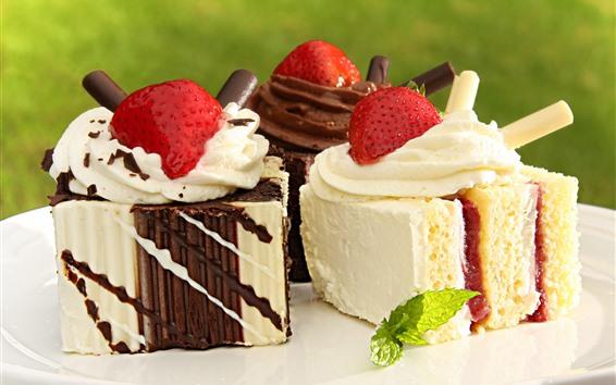 Hintergrundbilder Dessert, Kuchen, Sahne, Erdbeere, Schokolade