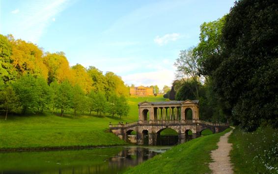 Wallpaper England, trees, river, path, Buckinghamshire, Palladian Bridge