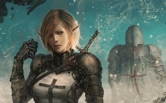 Wallpaper Fantasy girl, elf, tears, sword