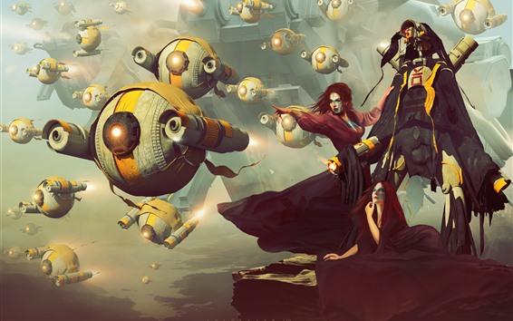 壁紙 ファンタジーの女の子、攻撃、ロボット