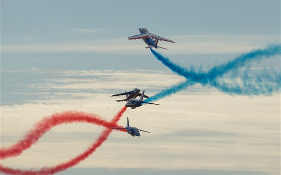 Wallpaper Flight show, planes, red and blue smoke
