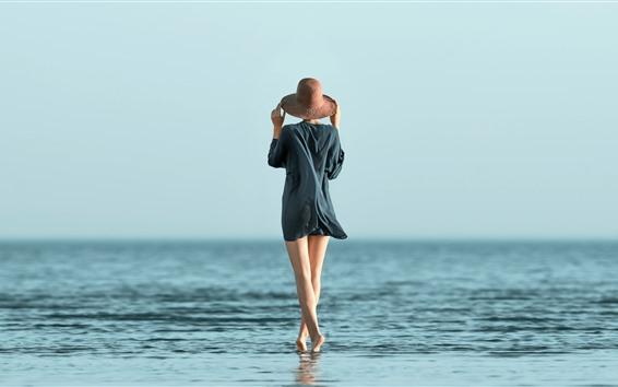 Wallpaper Girl, back view, legs, hat, sea