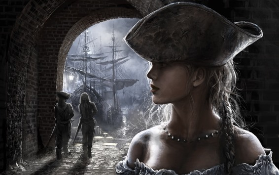 Hintergrundbilder Mädchen, Gesicht, Zopf, Hut, Schiff, Kunstbild
