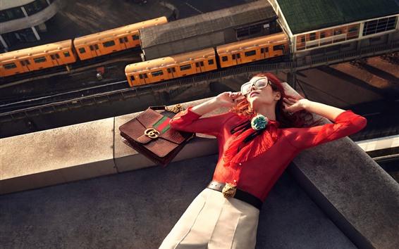 Wallpaper Girl sleep on roof