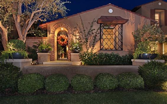 Wallpaper House, villa, night, lights, garden